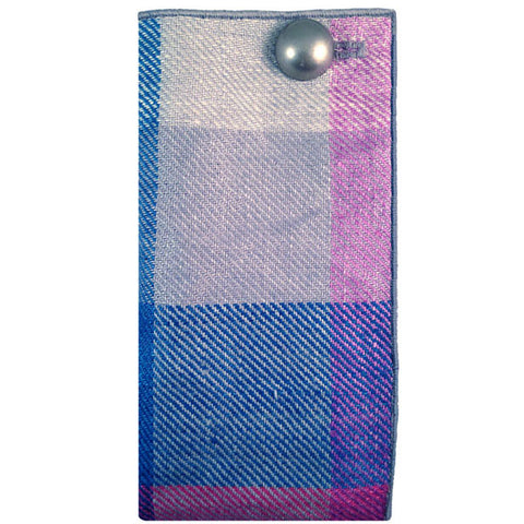 Blue, Gray and Fuchsia Plaid Pocket Square with Silver Metal Button - The Detailed Male