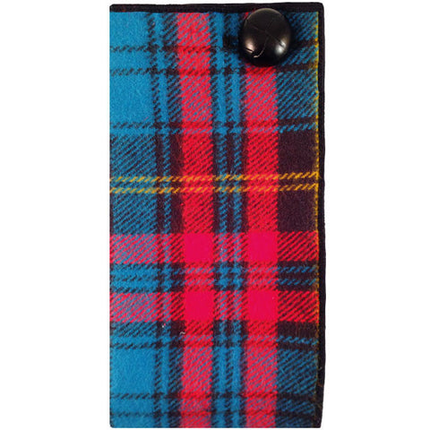Red, Blue and Black Plaid Wool Pocket Square with Black Button - The Detailed Male