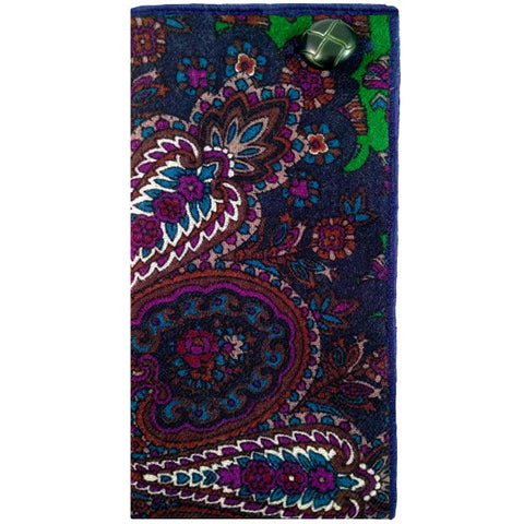 Navy and Purple Paisley Pocket Square with Green Button - The Detailed Male