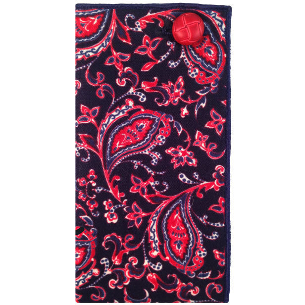 0355789f90ee9 Navy Blue, Red and White Paisley Pocket Square with Red Button – The ...