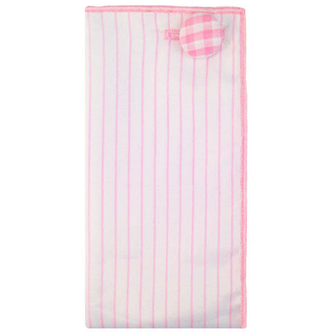 Light Pink and White Stripe Pocket Square with Gingham Button - The Detailed Male