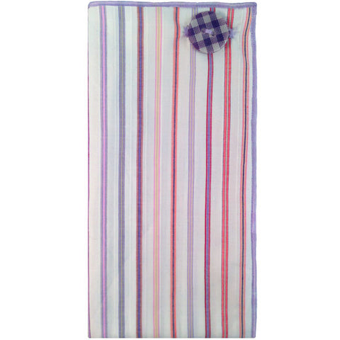 Red, Purple, White and Coral Stripe Pocket Square with Purple Gingham Button - The Detailed Male
