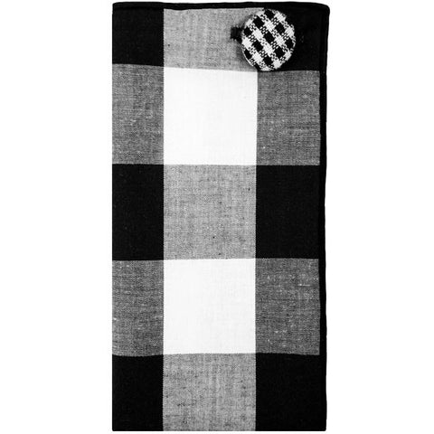 Black and White Large Plaid Pocket Square with Gingham Button - The Detailed Male