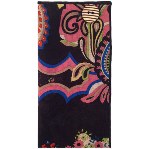 Black and Multi-Colored Paisley Print Pocket Square with Striped Button - The Detailed Male