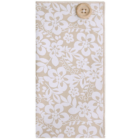 Light Tan and White Floral Print Pocket Square with Wooden Button - The Detailed Male