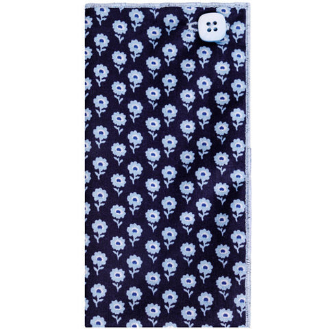 Navy Blue and Light Blue Flower Print Pocket Square - The Detailed Male