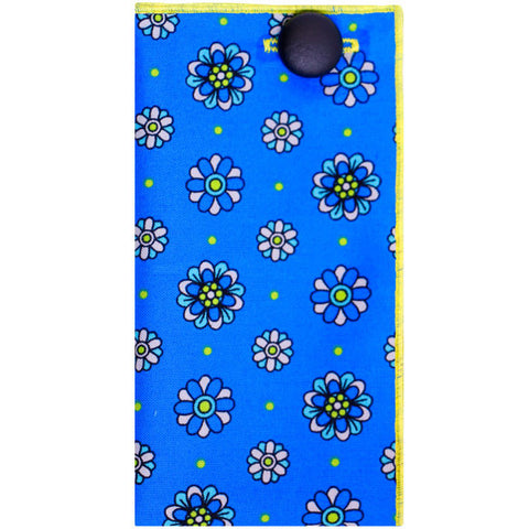 Bright Blue Geometric Print Pocket Square with Black Leather Button - The Detailed Male