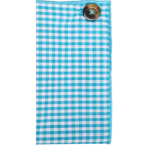 Turquoise and White Gingham Pocket Square with Brown Button - The Detailed Male