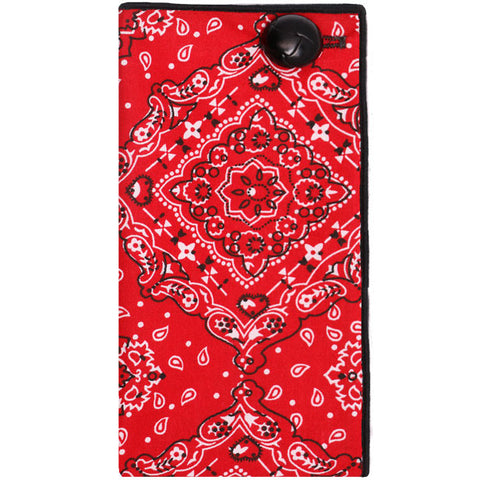 Red Bandana Print Pocket Square with Black Button - The Detailed Male