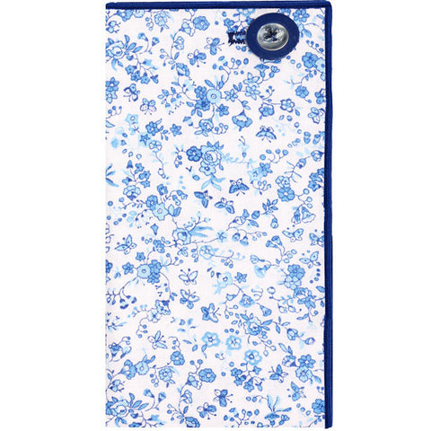 Blue and White Floral Print Pocket Square with Blue and Clear Button - The Detailed Male