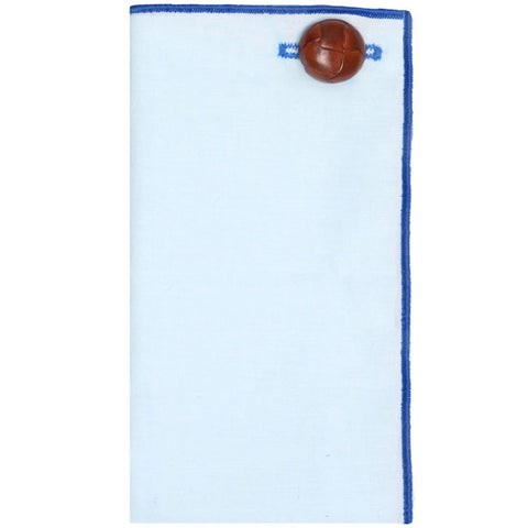 Light Blue Pocket Square with Tan Leather Button - The Detailed Male