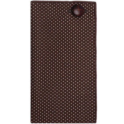 Brown and White Dot Pocket Square with Brown Leather Button - The Detailed Male