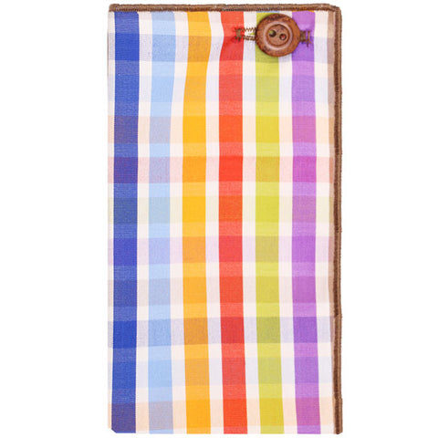 Multi Colored Plaid Pocket Square with Brown Wooden Button - The Detailed Male