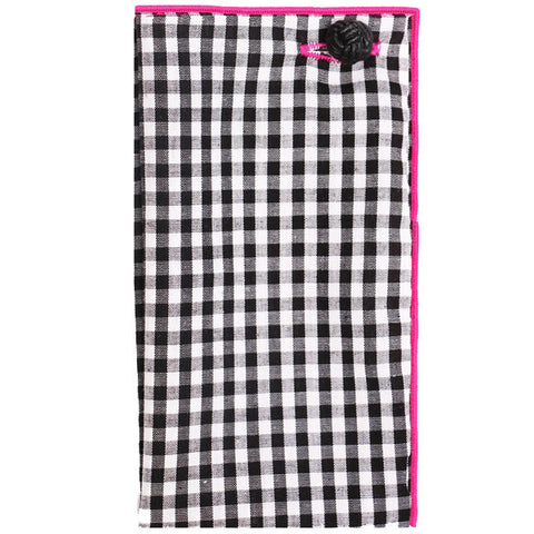 Black & White Gingham with Pink Trim Pocket Square - The Detailed Male