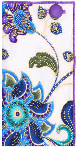 Purple, Gold, White and Blue Paisley Print Pocket Square - The Detailed Male