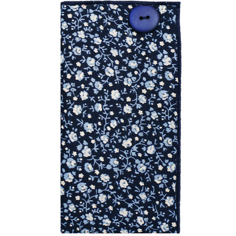 Navy Blue and Light Blue Floral Print Pocket Square - The Detailed Male