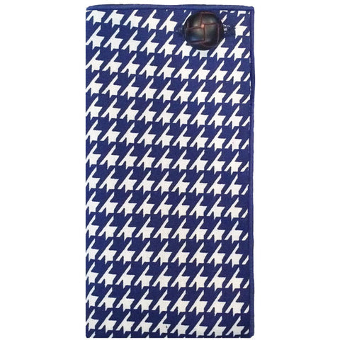 Navy Blue and White Houndstooth Pocket Square - The Detailed Male
