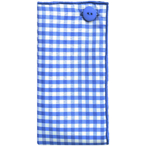 Royal Blue and White Gingham Plaid Pocket Square - The Detailed Male