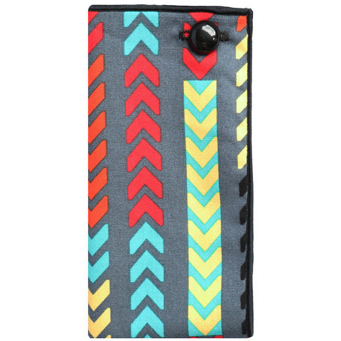 Gray and Multi Colored Tribal Print Pocket Square - The Detailed Male