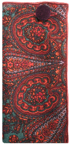 Maroon Paisley Print Pocket Square with Maroon Button - The Detailed Male