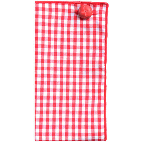 Red and White Gingham Pocket Square with Red Button - The Detailed Male