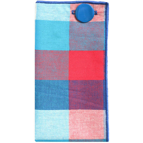 Red, Blue and White Oversized Check Pocket Square with Blue Metal Button - The Detailed Male