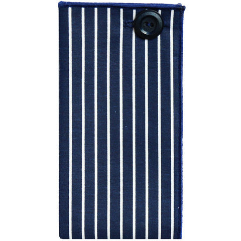 Navy Blue and White Stripe Pocket Square - The Detailed Male