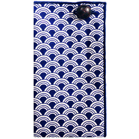 Navy Blue and White Geometric Print Pocket Square - The Detailed Male
