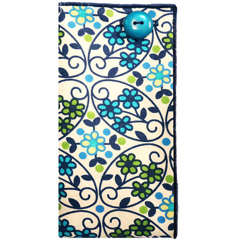 Navy Blue, Turquoise and Cream Floral Print Pocket Square - The Detailed Male