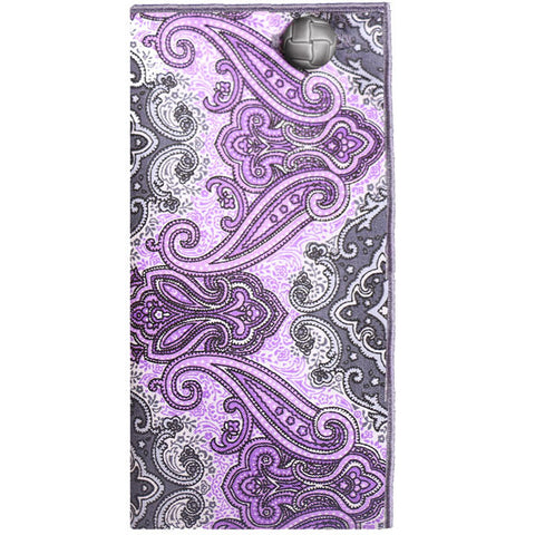 Purple and Gray Paisley Print Pocket Square with Gray Button - The Detailed Male