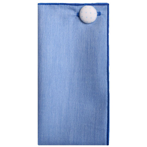 Blue Linen Pocket Square with Blue and White Button - The Detailed Male