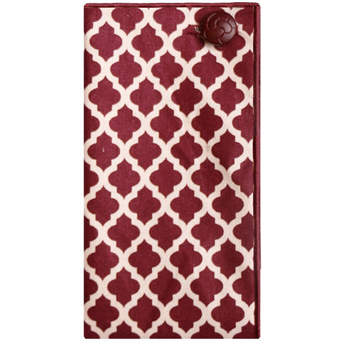 Maroon and Ivory Geometric Print Pocket Square - The Detailed Male