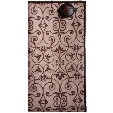 Brown Swirl Print Pocket Square with Brown Leather Button - The Detailed Male