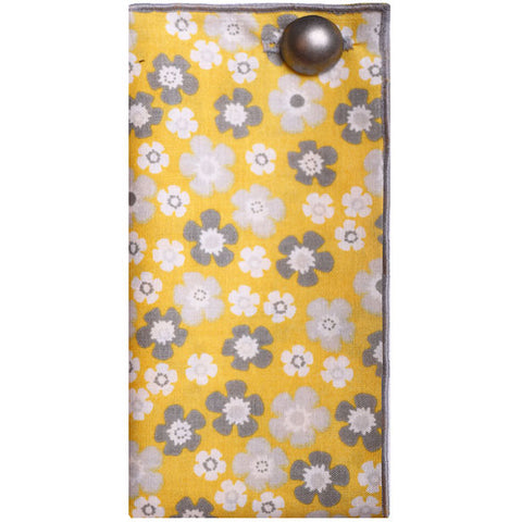 Yellow, Gray and White Floral Print Pocket Square with Silver Metal Button - The Detailed Male