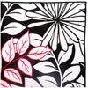 Black, White and Red Floral Print Pocket Square With Black Button - The Detailed Male