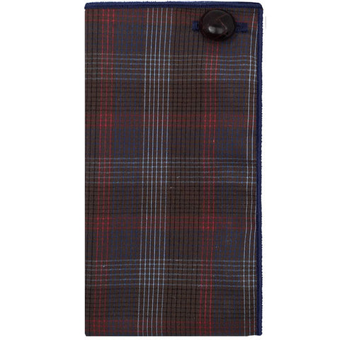 Brown, Blue and Red Plaid Pocket Square - The Detailed Male