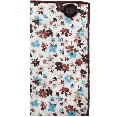 Brown and Blue Floral Print Pocket Square with Brown Leather Button - The Detailed Male