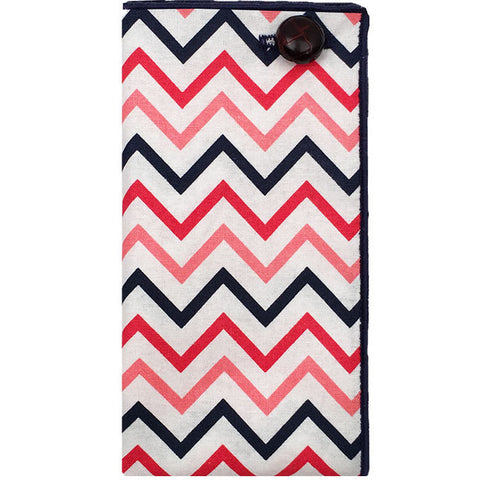 Navy Blue, Red, Coral and White Chevron Pocket Square - The Detailed Male