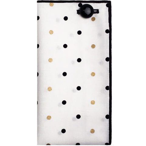 White with Gold and Black Dot Pocket Square with Black Button - The Detailed Male