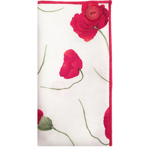 White, Red and Green Flower Print Pocket Square with Red Button - The Detailed Male