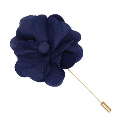 Navy Blue Flower Lapel Pin - The Detailed Male