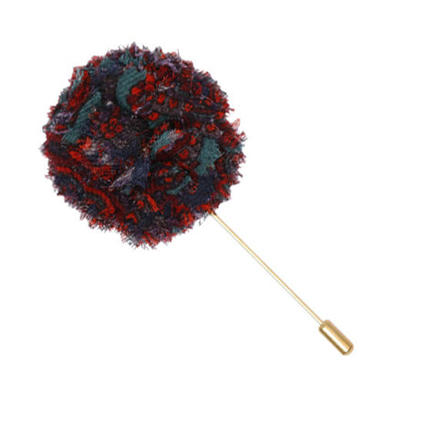 Navy Blue, Maroon, Green and Orange Paisley Lapel Flower Pin - The Detailed Male