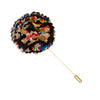 Black and Multi Colored Floral Print Lapel Flower Pin - The Detailed Male