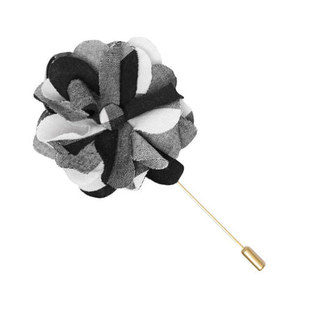 Black and White Oversized Buffalo Plaid Lapel Flower Pin - The Detailed Male