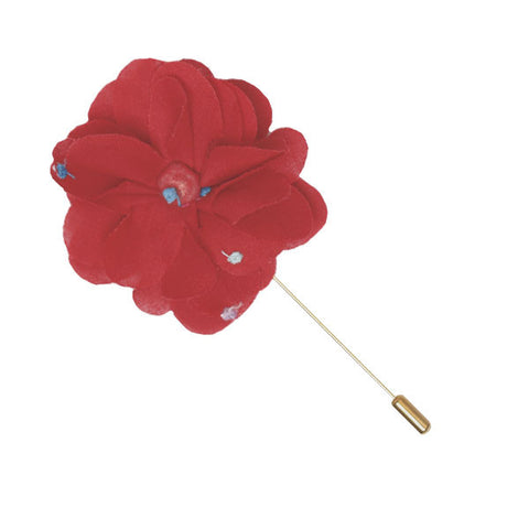 Red and Multi Colored Dot Lapel Flower Pin - The Detailed Male