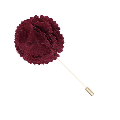 Maroon Wool Lapel Flower Pin - The Detailed Male