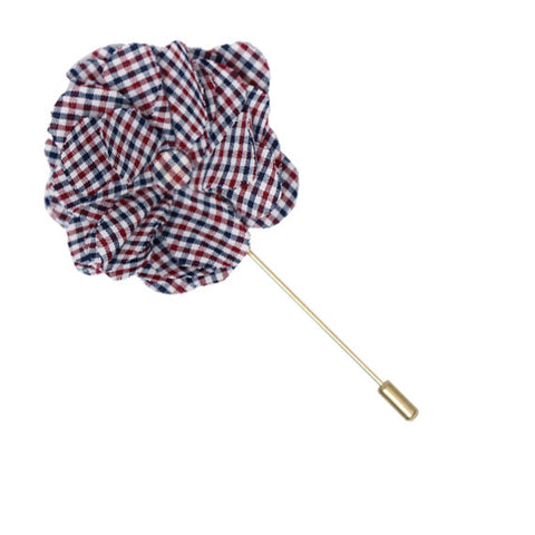 Maroon, Navy Blue and White Check Lapel Flower Pin - The Detailed Male