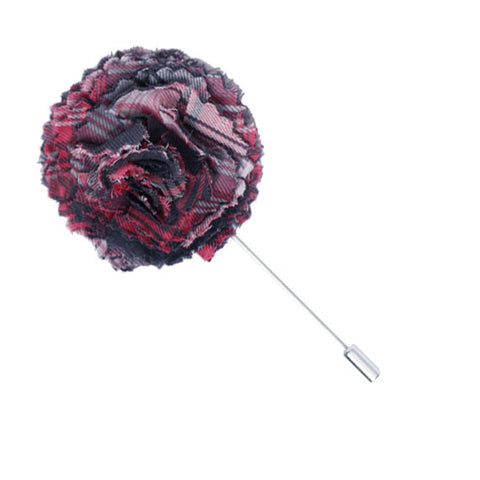 Gray and Pink Plaid Lapel Flower Pin - The Detailed Male