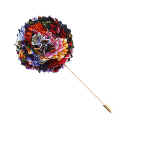 Floral Print Lapel Flower Pin - The Detailed Male