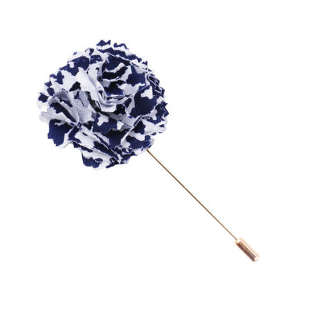Navy Blue and White Houndstooth Lapel Flower Pin - The Detailed Male